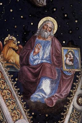 San Lucas sosteniendo un cuadro de la Virgen con el Niño, a su derecha el buey, su simbolo.