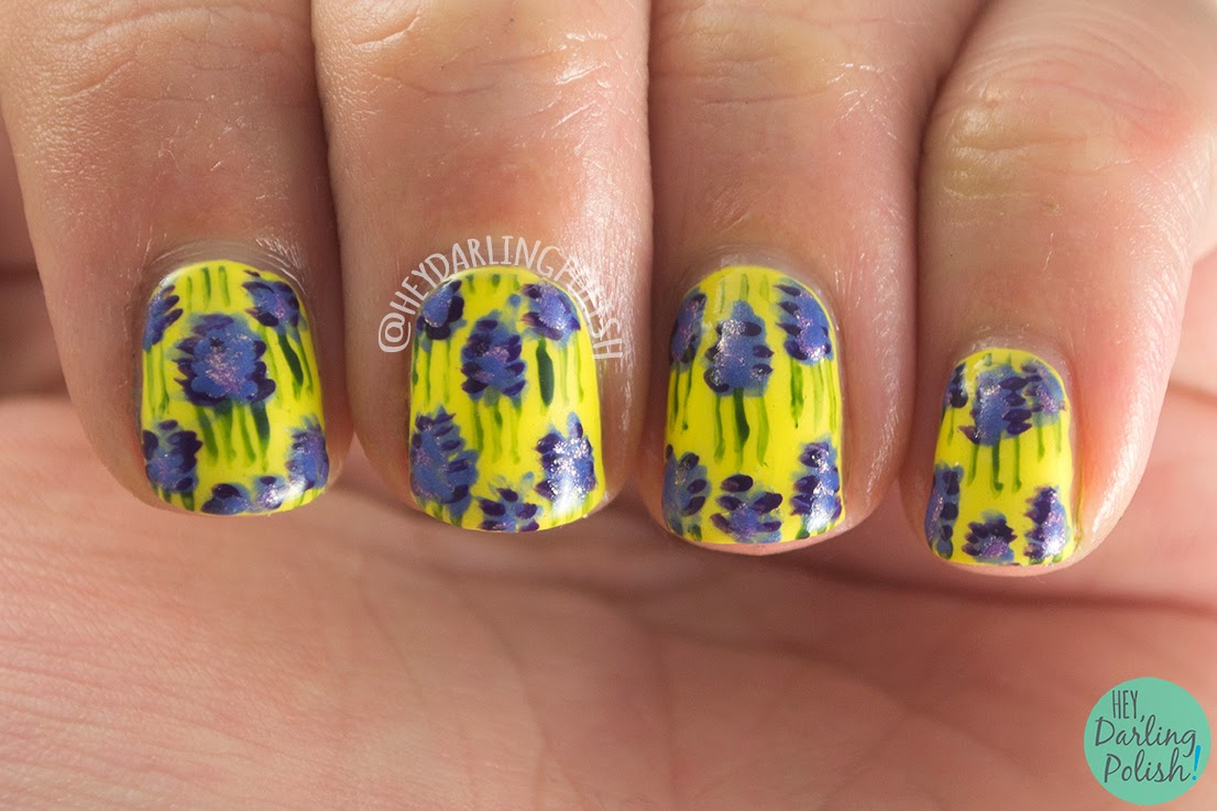 nails, nail art, nail polish, lavander, yellow, pattern, oh mon dieu, hey darling polish, free hand