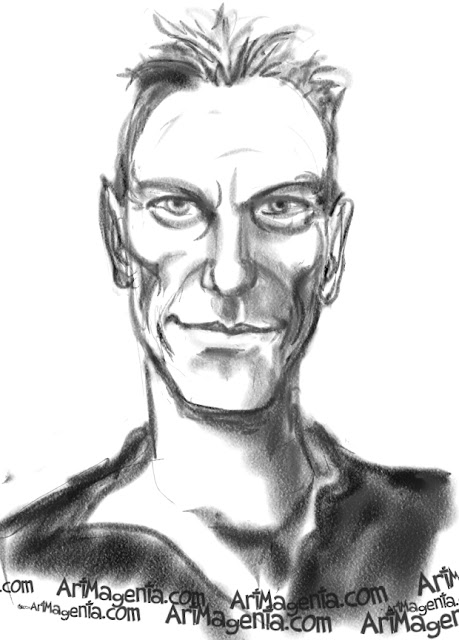 Sting caricature cartoon. Portrait drawing by caricaturist Artmagenta.