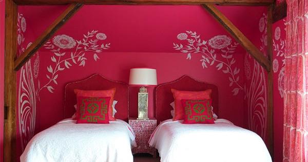 contoh desain kamar tidur anak kembar warna pink design