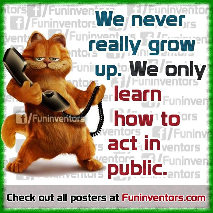 Learn how to act in public Garfield funny quote