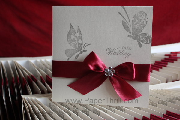 Handstamped butterfly wedding invitation card