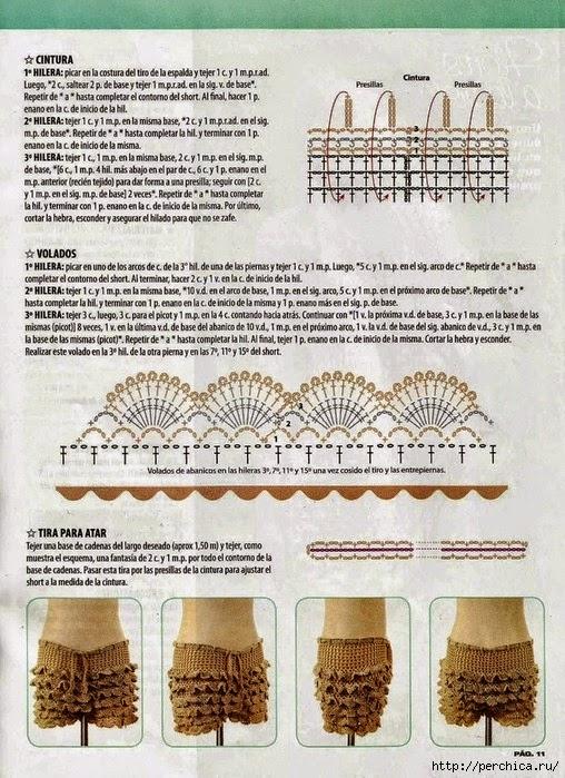 Short tejido al crochet / esquemas DIY   Crochet y Dos agujas ...