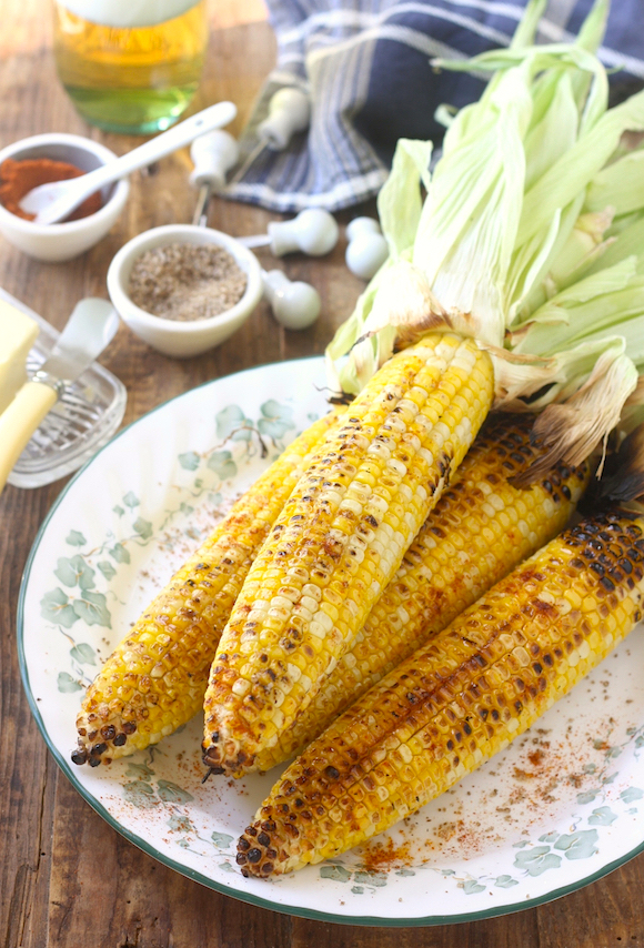 Grilled Corn with Sichuan Pepper Salt & Smoked Serrano Chili Powder by SeasonWithSpice.com