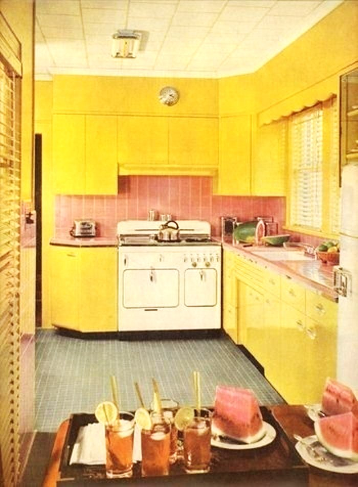 yellow steel cabinets and that looks like a pale green tile floor too