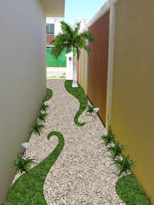 Jard n creativo con pasto gravilla y bamb dise os para for Decoracion de jardines de frente de casas