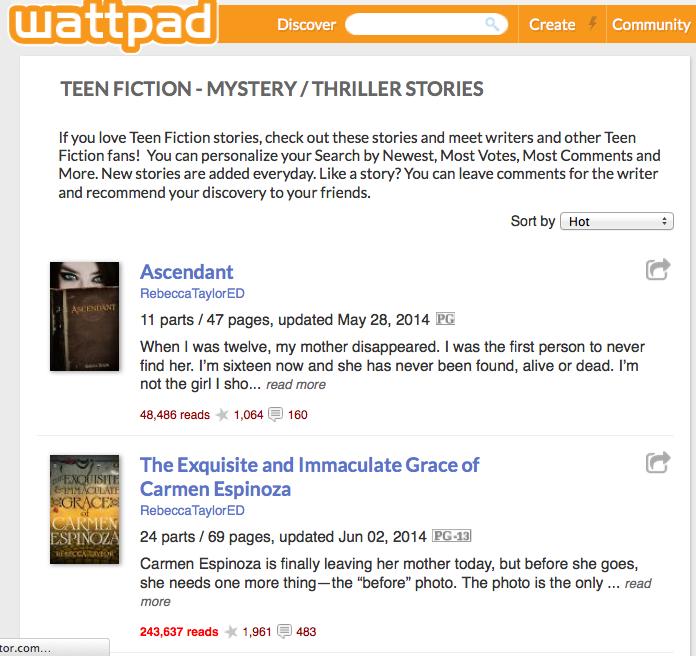 http://www.wattpad.com/stories/teen-fiction/mystery-thriller