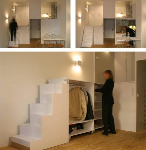 Desain unik ini sangat mengejutkan dan cocok dengan sejumlah tingkat dan kompartemen tersembunyi yang ada di dalam ruang ultra-kecil menciptakan sistem ... & Desain dan Denah Interior Rumah Mungil yang Sederhana dan Minimalis ...