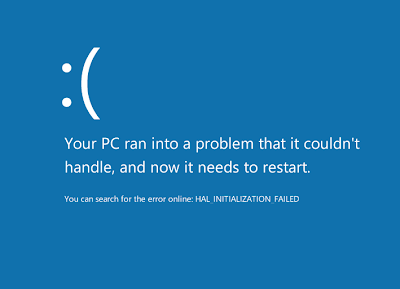 Your PC ran into a problem it couldn't handle, and now it needs to restart. HAL_INITIALIZATION_FAILED