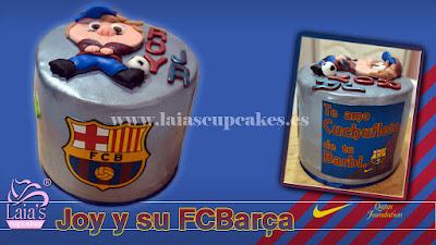 Tarta personalizada fondant FCB modelado Laia's Cupcakes Puerto Sagunto