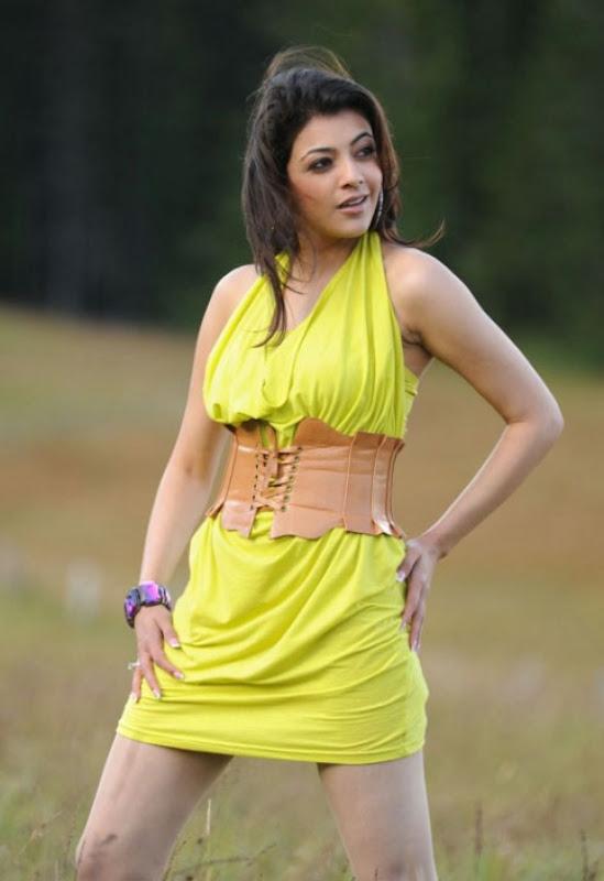Spicy Kajal Agarwal In Hot Mood Yellow Dress Latest Stills Photos unseen pics