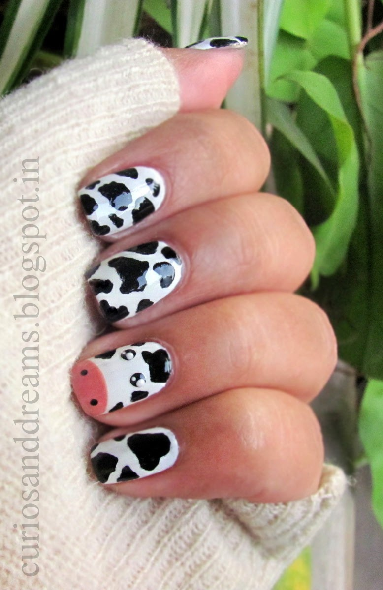 cow nailart, cow nail art, cow nailart design, cow manicure, nail art designs, cute nailart