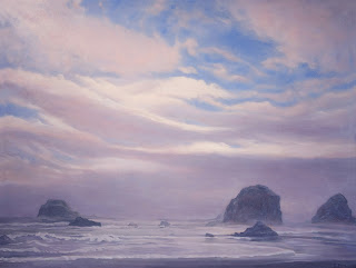 Fog Lifting ©2014 Katherine Kean  contemporary original oil on linen 30 x 40 inches