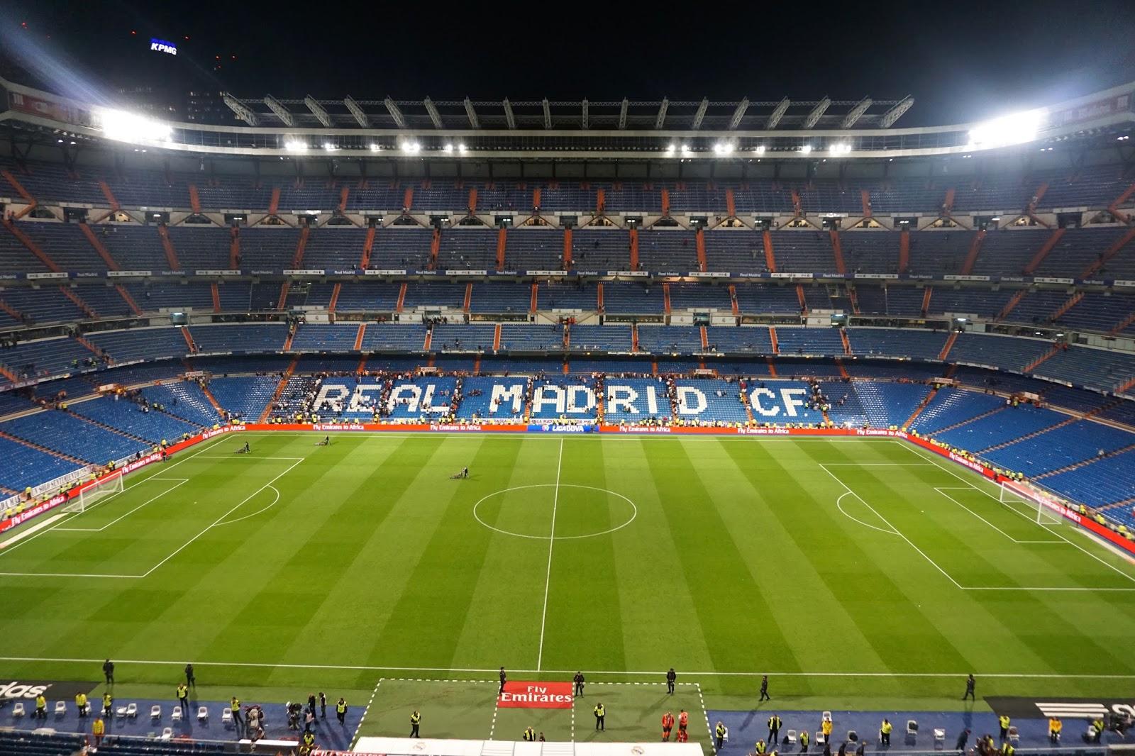 Mid footbal match at a Real Madrid match at Santiago Berbabeu Stadium in Madrid