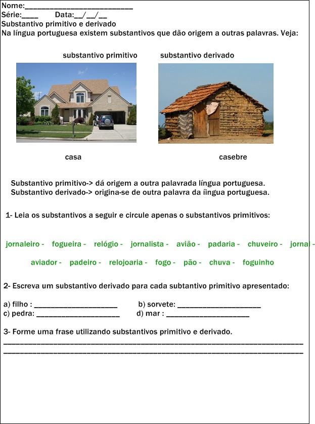 Substantivo Primitivo E Substantivo Derivado