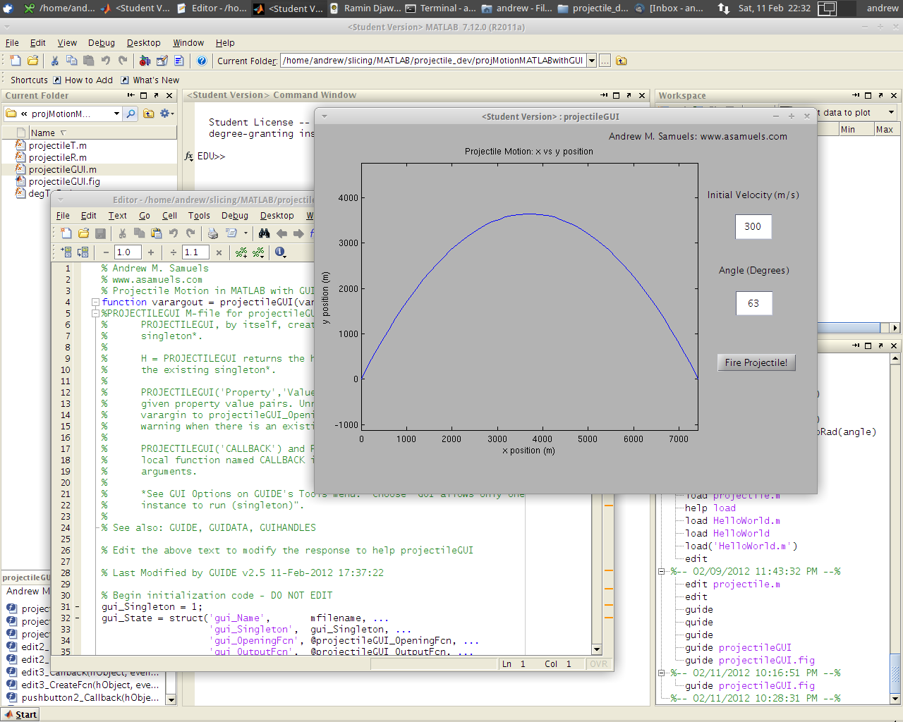 Andrew M. Samuels: MATLAB Graphical User Interface (GUI): Projectile ...