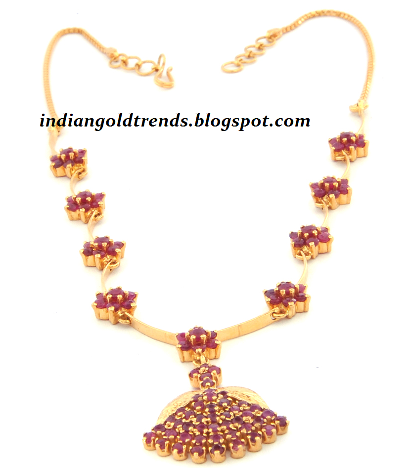 simple 22k gold ruby necklace
