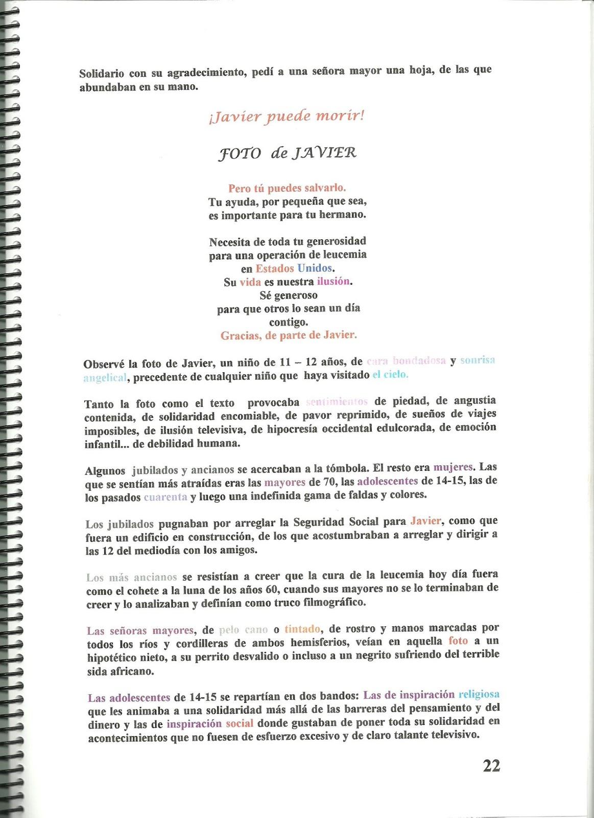 Juan Carlos Martínez: Javier puede morir: El color de los cuentos