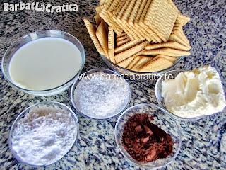 Rulada din biscuiti cu cocos ingrediente reteta