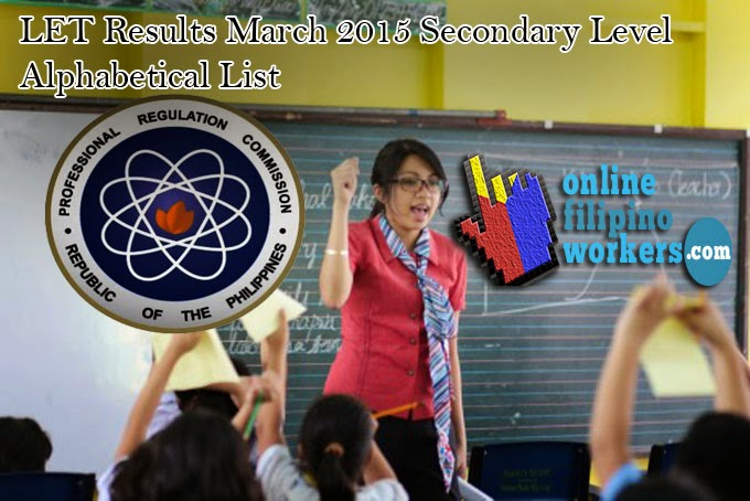 LET Passers March 2015 Final List H - O Secondary Level Teachers Board Exam
