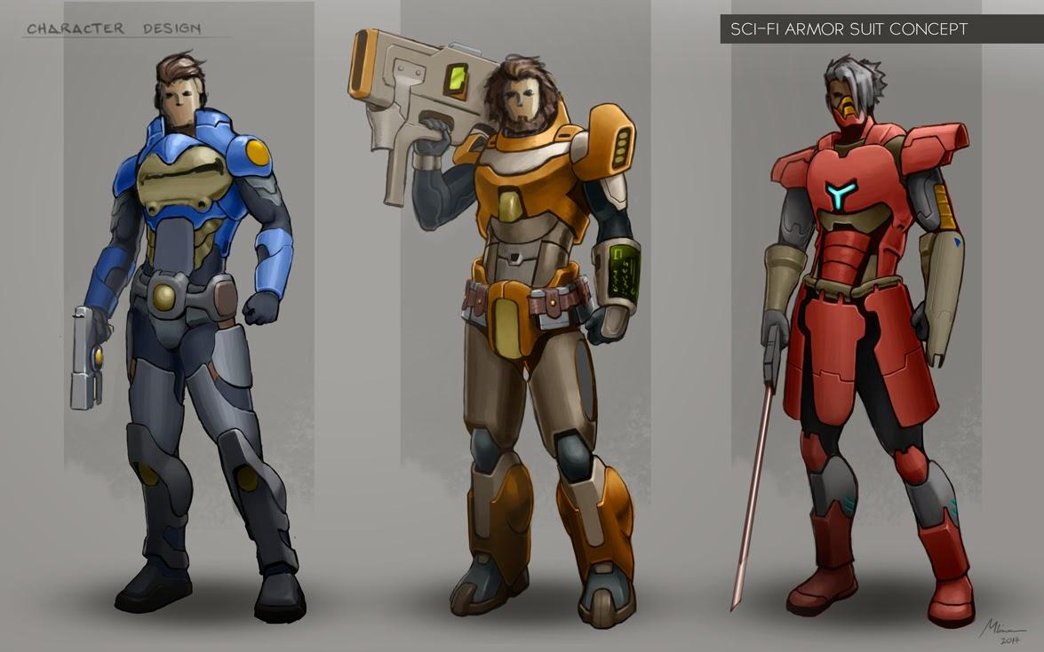 Art of lon character design armor suit for Sci fi decor