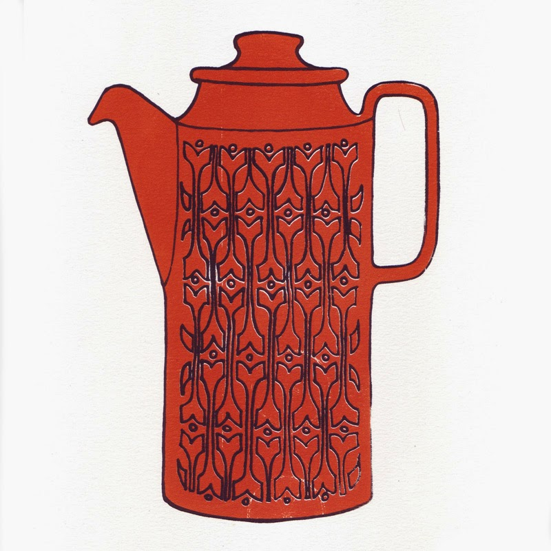 Vintage Style Hornsea Coffee Jug Screen Print A4 by Welaughindoors