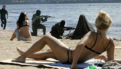 De maniobras en la playa