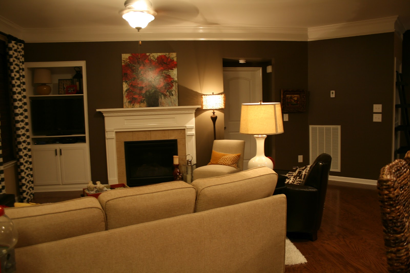 The bozeman bungalow living room accent wall done for Mobile home living room designs