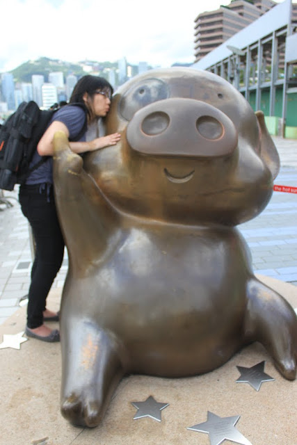 A famous piggy character called McDull in Avenue of Stars, Hong Kong
