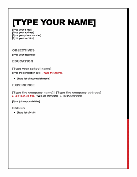 resume template essential design word - Short Resume Template