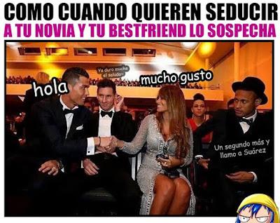 La foto de Cristiano Ronaldo saludando a la esposa de Messi