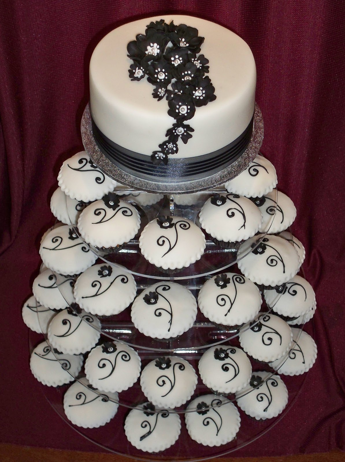 black and white cup cake tower