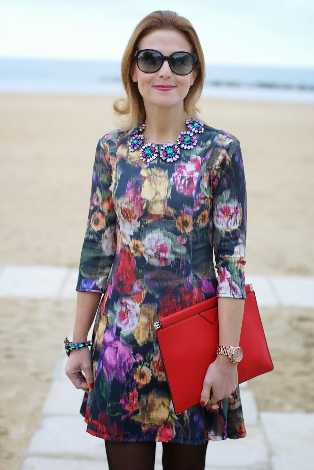 floral dress, Zara red clutch, amelie necklace, Mercantia gioelli, Fashion and Cookies, fashion blogger