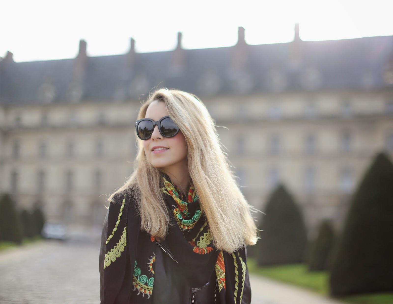 all black, streetstyle, topshop, acne, hermès, hermès shawl, chloé susanna, céline, fashion blogger