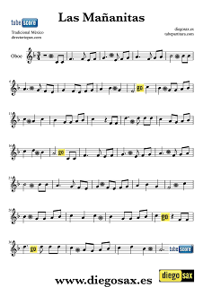 Partitura de Las Mañanitas para Oboe. Para tocar con la música del vídeo. Las Mañanitas Oboe sheet music