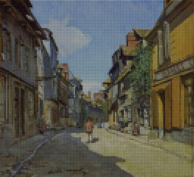 Digital Kristik Lukisan The La Rue Bavolle at Honfleur Karya Claude Monet (Perancis)