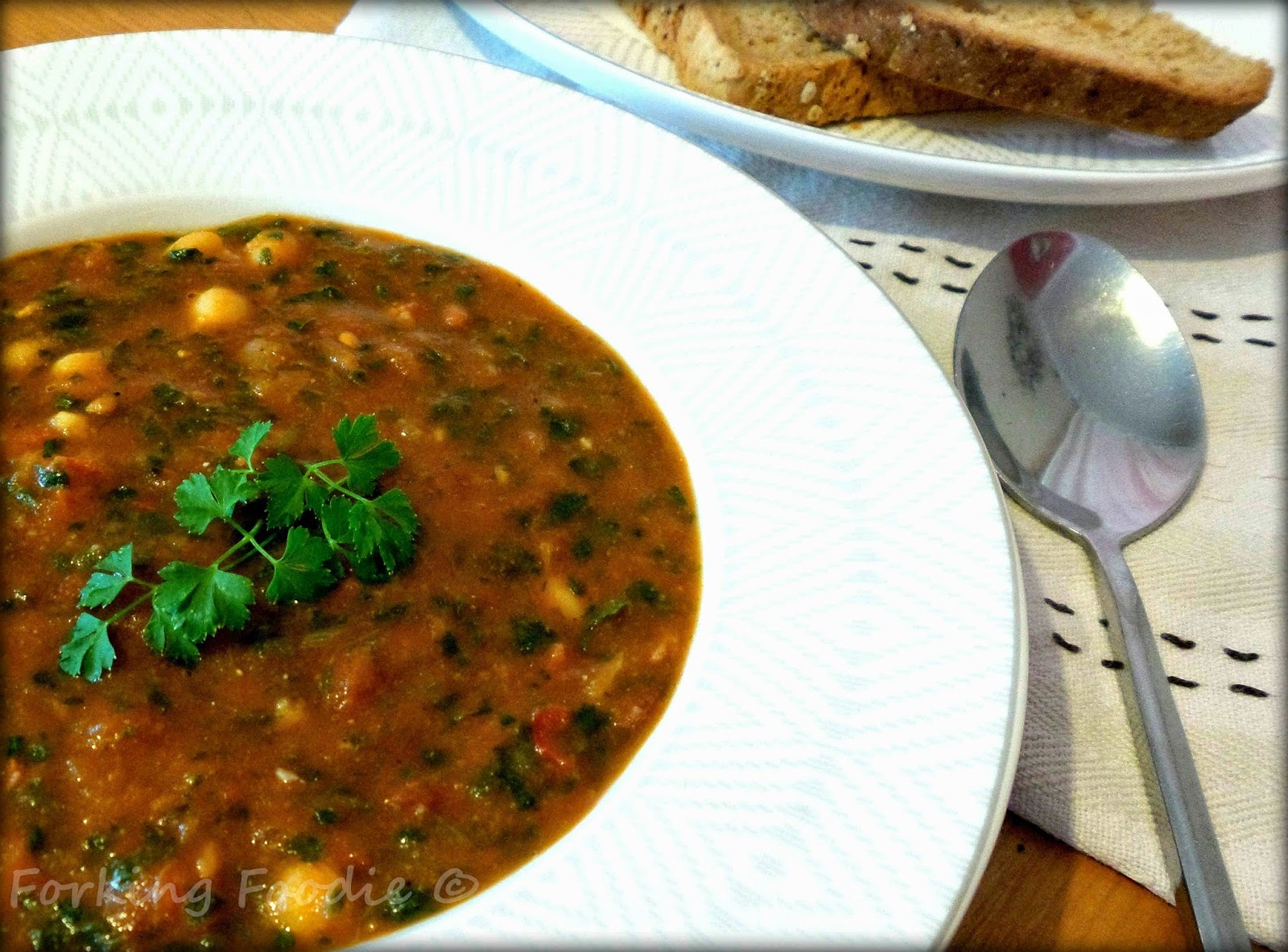 Thermomix Spicy Chorizo Chickpea and Spinach Soup