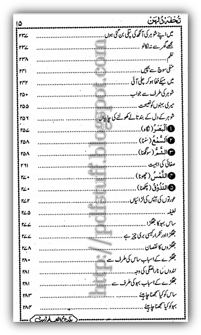 Contents of tuhfa e Dulhan Book