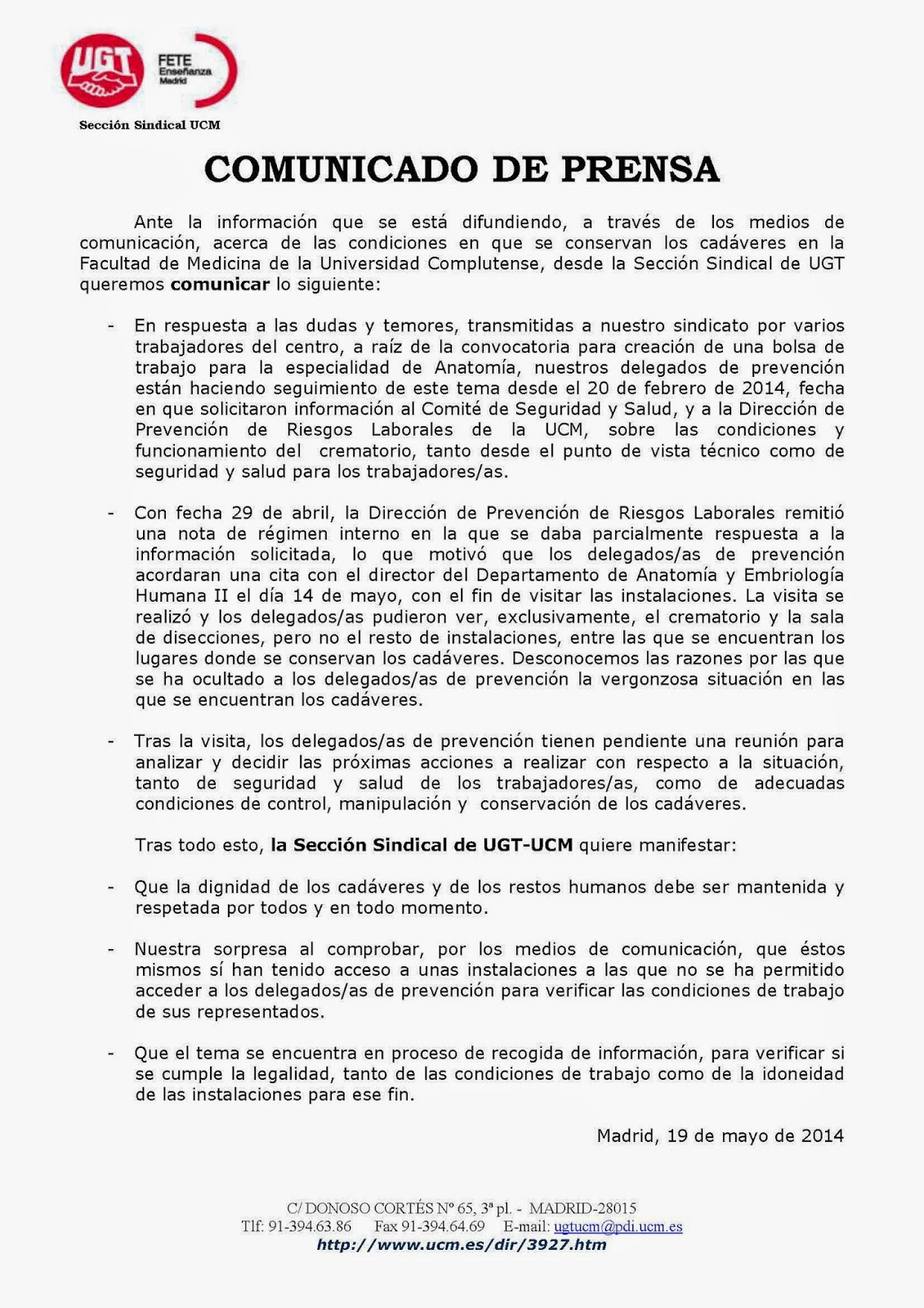 Sección Sindical de UGT en la UCM: SALUD LABORAL