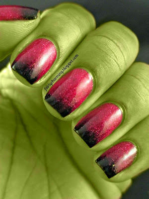 Anise Cosmic Kiss, ombre, gradient, black tips, holo, cranberry, Halloween, witch, nails, nail art, nail design, mani