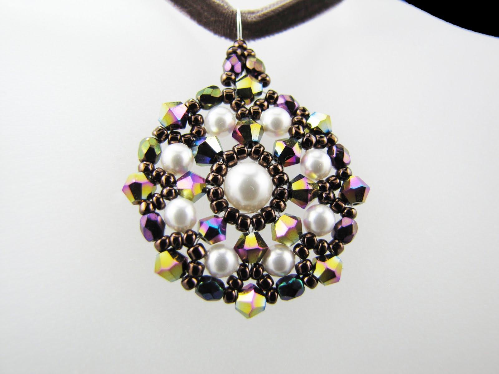Swarovski topaz crystal pearls beaded woven pendant necklace