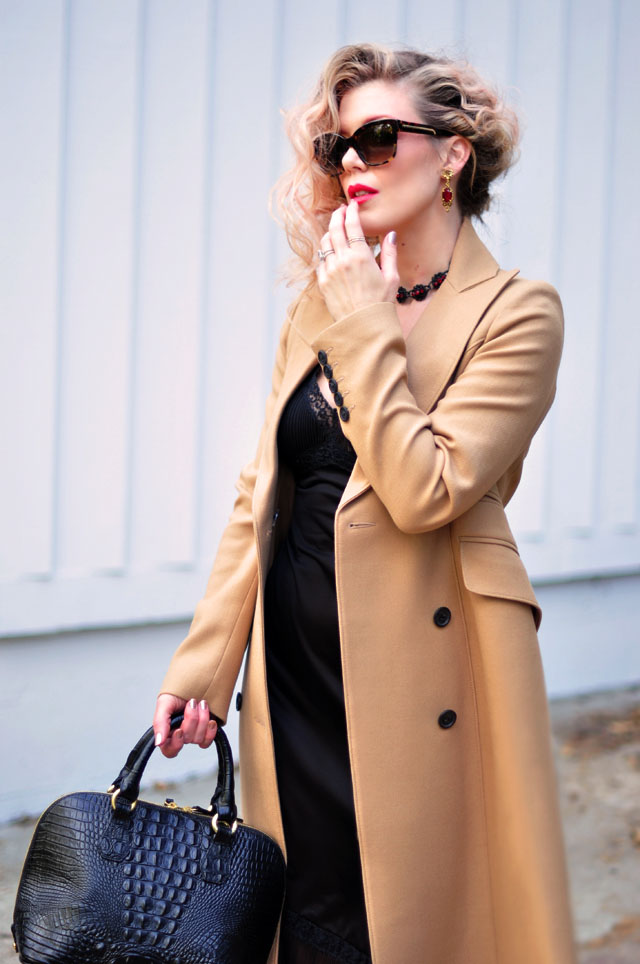 Camel Coat & Vintage Black Slip {dress}