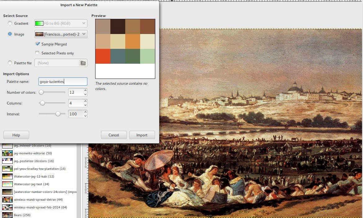 Lucientes Goya and a tentative to simplified palette.