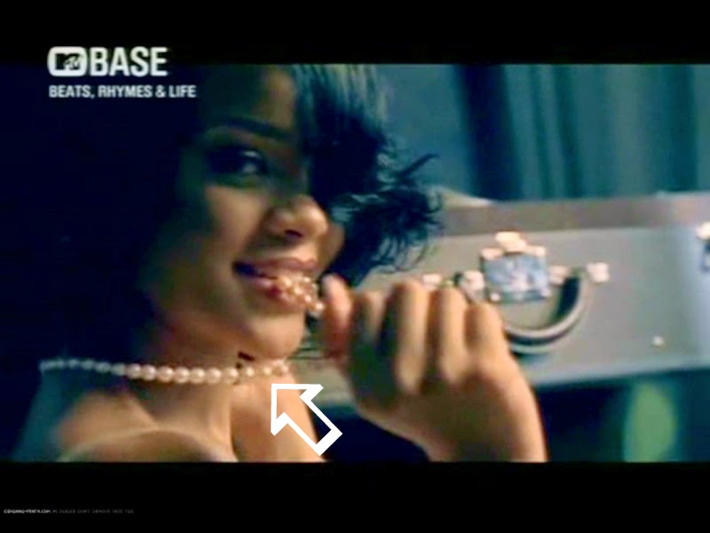 Rihanna wearing a Jenny Dayco necklace