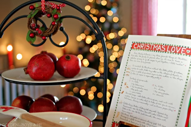Susan Branch Christmas cook book and pomegranates-www.goldenboysandme.com