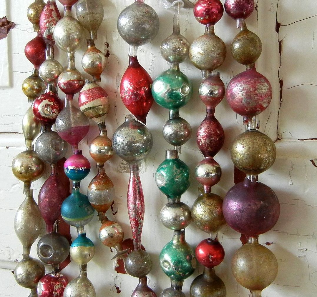 Christmas ornament display case - There Was Entirely Too Much To Choose From So I Kept My Looting Limited To Vintage Glass Bead Garlands And Little Vintage Cardboard Putz Or Not Buildings