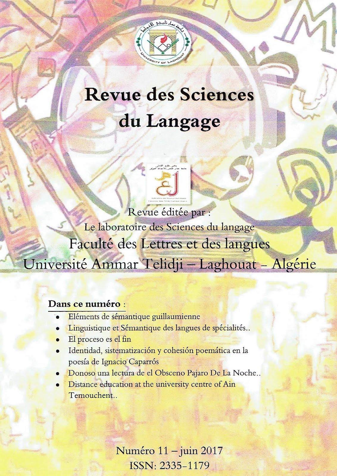 REVUE DES SCIENCES DU LANGAGE Nº 11