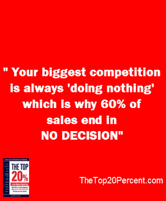 In sales, your biggest competitor is always doing nothing