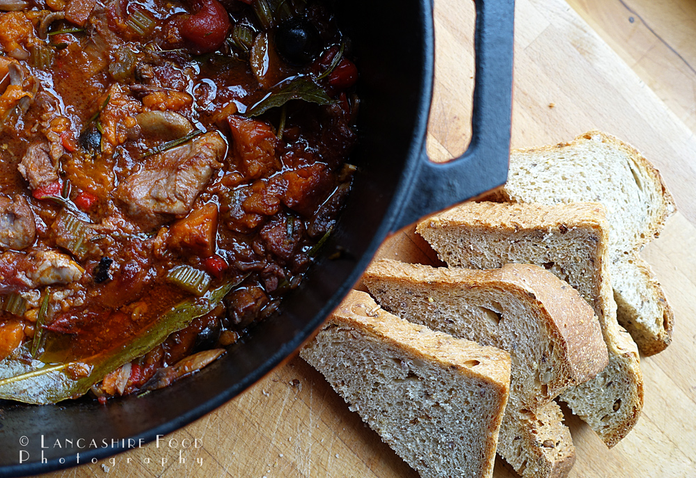 Chicken, sweet potato and red wine casserole