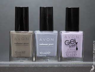 Avon  InnocenceВ сравнении с Avon Nailwear Pro+ Neutral Grey и Avon Gel Finish Lavender Sky